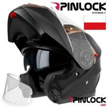Horn H925 Matt Fekete Felnyitható Bukósisak Napszemüveggel + Ajándék Pinlock lencse