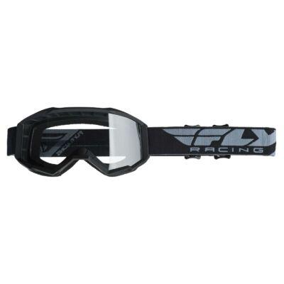Fly Racing - USA Cross szemüveg fekete színben, átlátszó plexivel - Junior