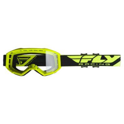 Fly Racing - USA Cross szemüveg citromsárga színben, átlátszó plexivel