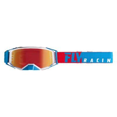 Fly Racing - Zone Cross szemüveg kék-piros színben, króm plexivel
