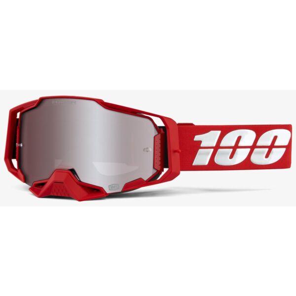 100% - Armega Cross Szemüveg (Piros) - Ezüst plexivel