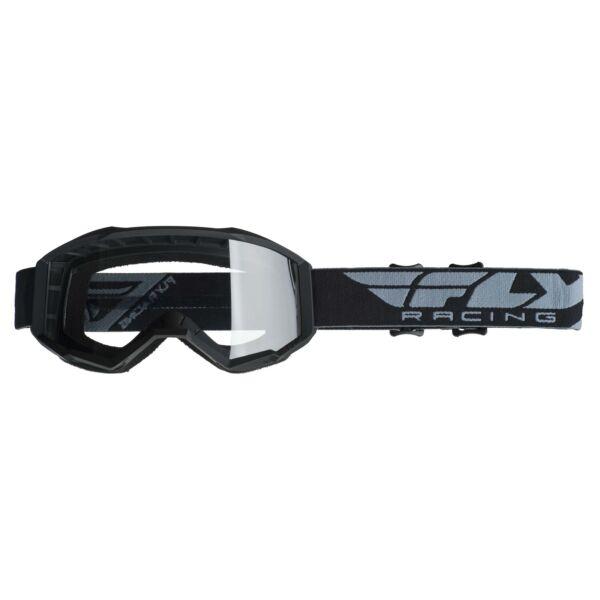 Fly Racing - USA Cross szemüveg fekete színben, átlátszó plexivel