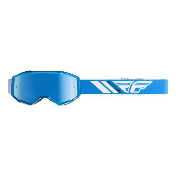 Fly Racing - Zone Cross szemüveg kék színben, króm színű plexivel