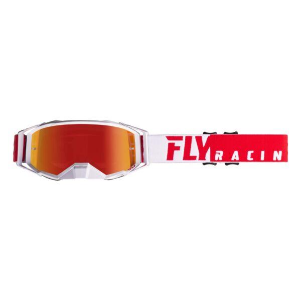 Fly Racing - Zone Cross szemüveg piros-fehér színben, króm színű plexivel