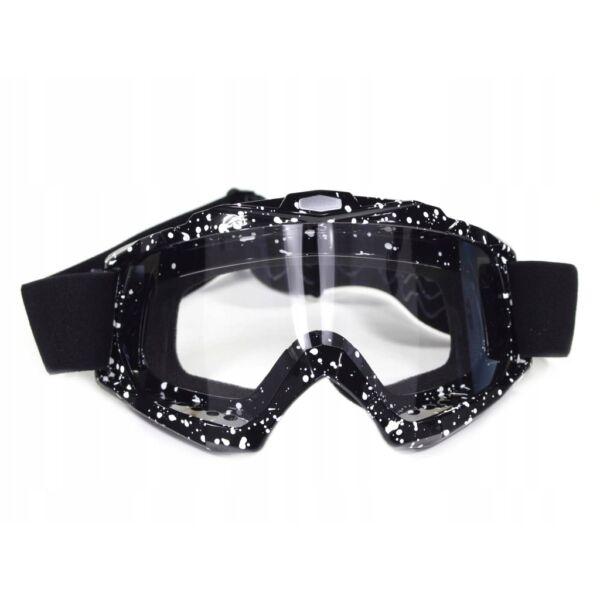 FTM-006 Cross szemüveg Átlátszó plexivel (Fekete - Fehér)