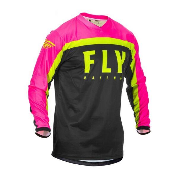 Fly Racing - F-16 motoros mez (Pink - fekete - sárga)