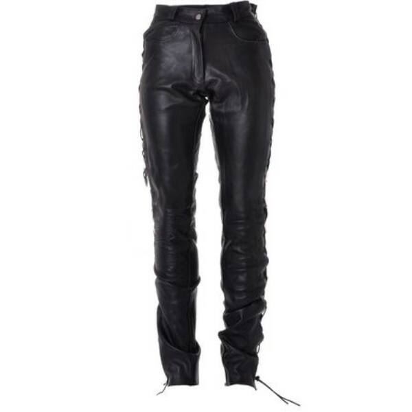 Roleff - Bőr motoros nadrág fűzős (Fekete)